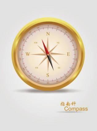 free vector Vector realistic golden compass