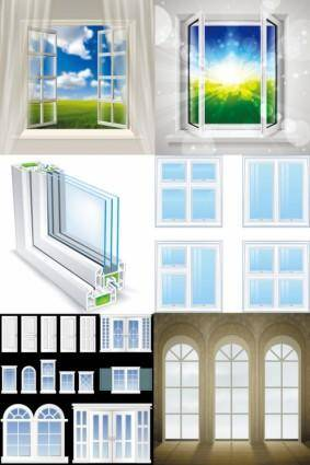 free vector Realistic windows and doors vector