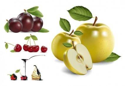 4 realistic fruits vector