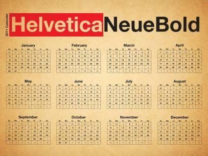 free vector Typographic Desk Calendar - Helvetica Neue