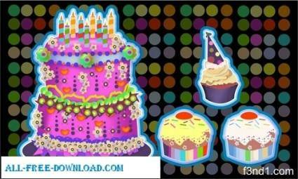 free vector Birthday Cupcakes