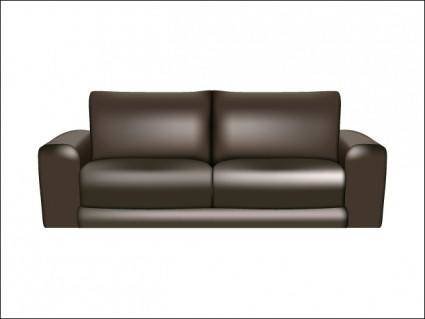 free vector Brown Leather Sofa