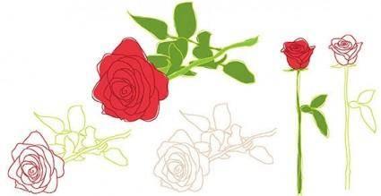 free vector Nature rose flower leaf outline
