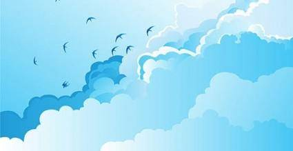 free vector Nature birds silhouettes sky clouds free vector