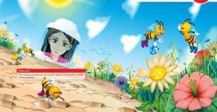 free vector Nature flowers girl insects leaf sky free vector