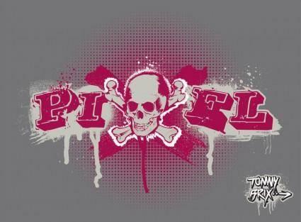 free vector PIXEL SKULL - design Tommy Brix