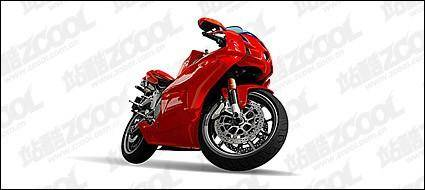 Vivid red motorcycle