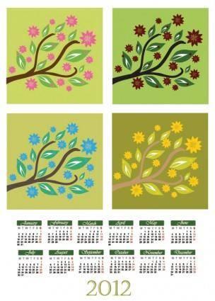 free vector Cartoon branches calendar 01 vector