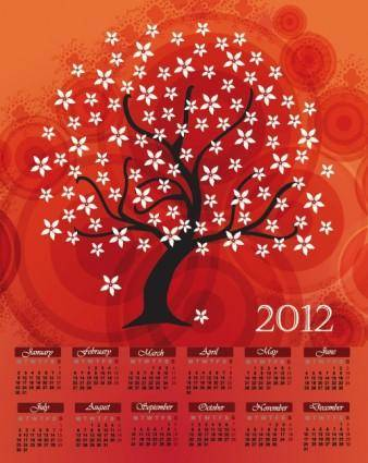 Cartoon branches calendar 02 vector