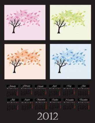 free vector Cartoon branches calendar 04 vector