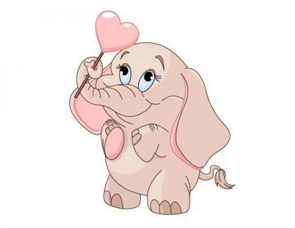 free vector Cartoon baby elephant 03 vector