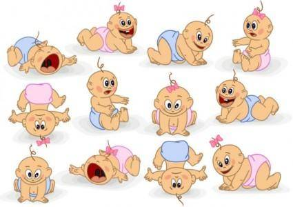 free vector Cute cartoon baby 03 vector