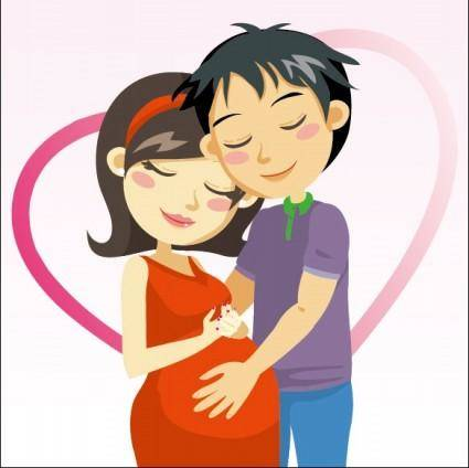 free vector Cartoon expectant mothers 03 vector