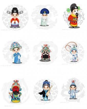 free vector A full set of 50 vector cartoon opera characters