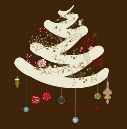 Cartoon christmas tree elements 01 vector