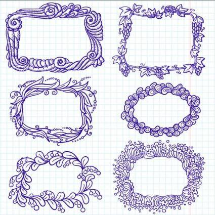 Handpainted cartoon lace 01 vector