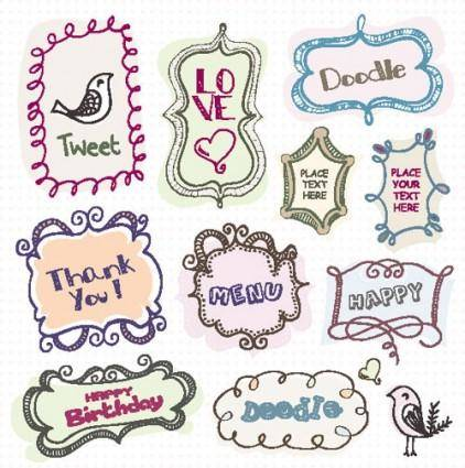free vector Cartoon cute lace 04 vector
