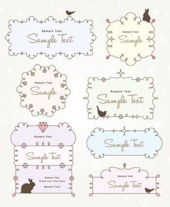 Cartoon cute lace 03 vector