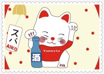 free vector Cartoon lucky cat vector