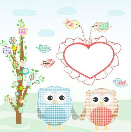 free vector Cute cartoon illustration 01 vector