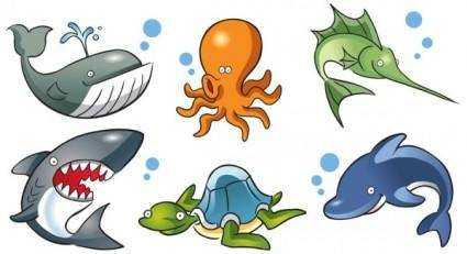 free vector Cartoon marine life vector
