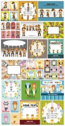 free vector Cute cartoon label vector download