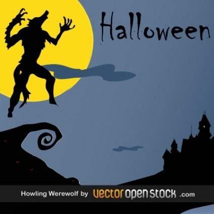 free vector Halloween - Howling WereWolf