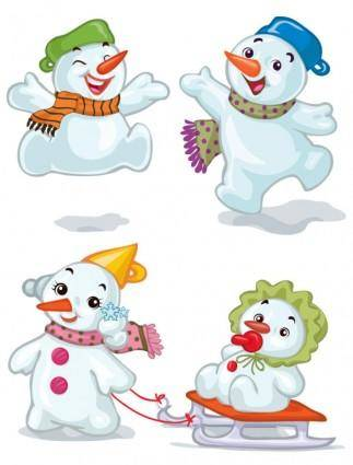 free vector Cartoon christmas snowman 02 vector