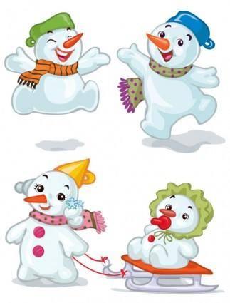 free vector Cartoon christmas snowman 02 vector