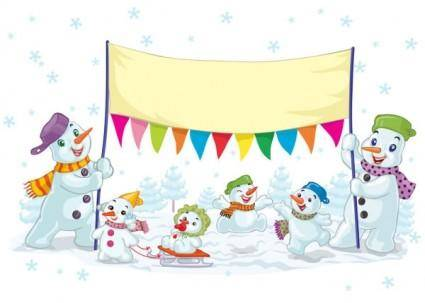 Cartoon christmas snowman 01 vector