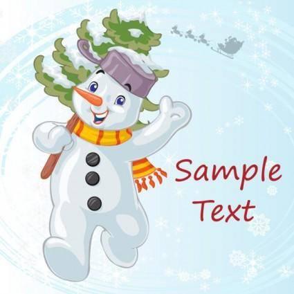 free vector Cartoon christmas snowman 03 vector