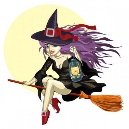 free vector Cartoon witch 01 vector