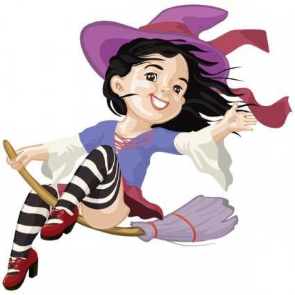 free vector Cartoon witch 04 vector