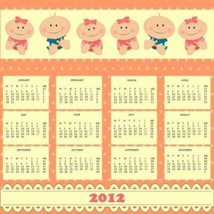 free vector 2012 cartoon calendar 01 vector