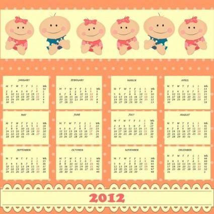 free vector 2012 cartoon calendar 01 vector
