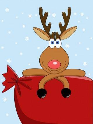 Cartoon christmas elk 03 vector