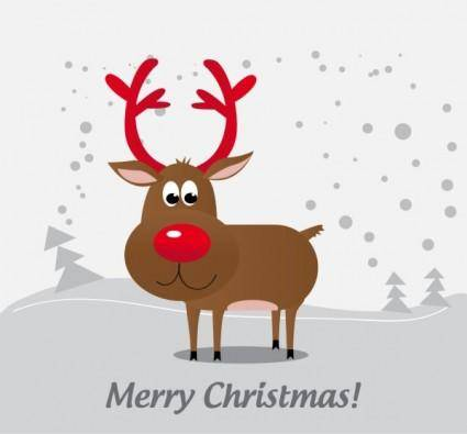 Cartoon christmas elk 05 vector