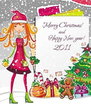 free vector Christmas cartoon girl image vector