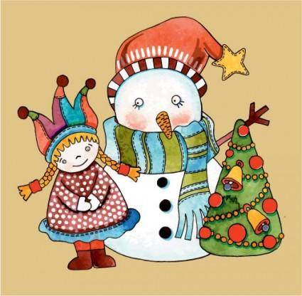 free vector Christmas cartoon illustration 01 vector