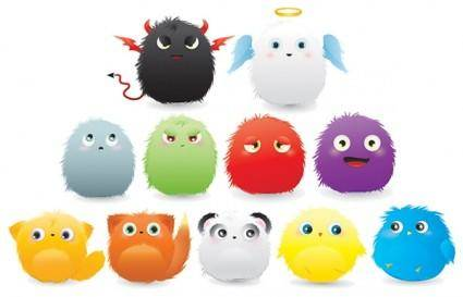 free vector Furry cartoon animals vector