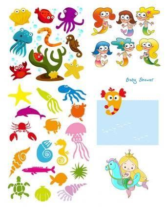 free vector Cartoon clip art marine