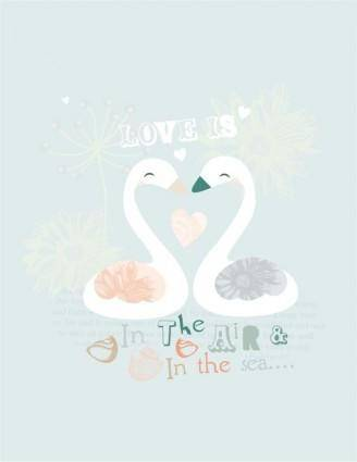 Swan vector cute cartoon
