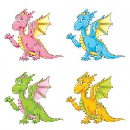 free vector Color cartoon cute little dinosaur vector