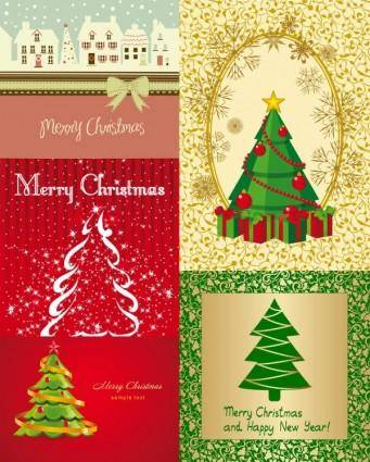 free vector All kinds of cartoon christmas tree vector