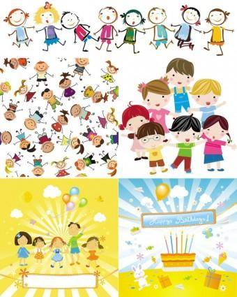 free vector Cute cartoon characters vector
