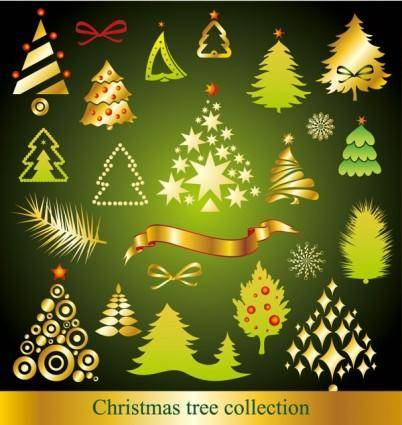A variety of cartoon christmas tree vector