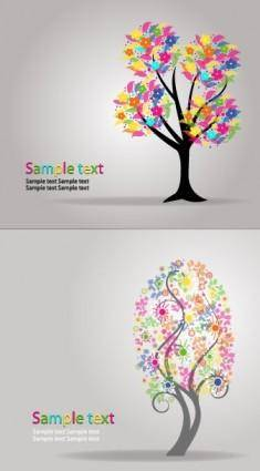 free vector Fall cartoon trees vector