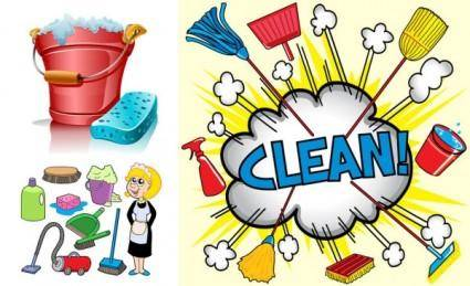 free vector Clean utensils cartoon 1 vector