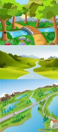 free vector Cute cartoon landscape vector