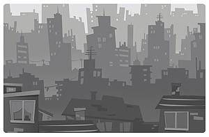 Cartoonstyle city silhouette vector